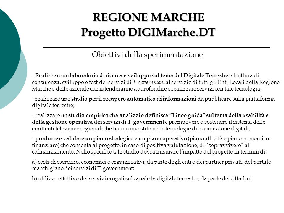Progetto DIGIMarche.DT