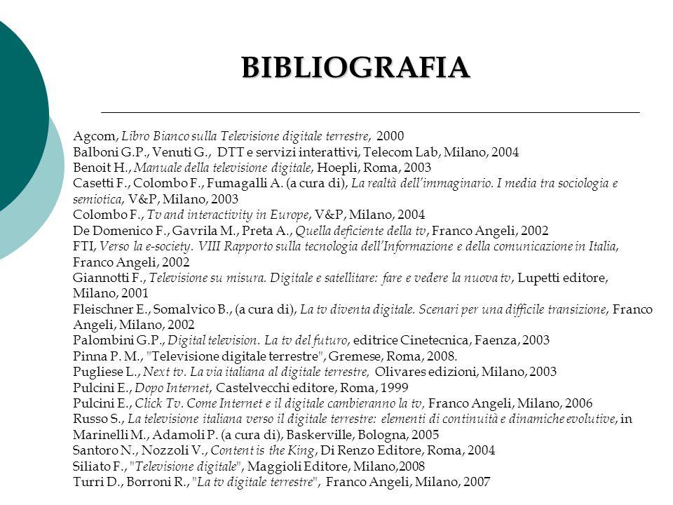 BIBLIOGRAFIA Agcom, Libro Bianco sulla Televisione digitale terrestre, 2000.