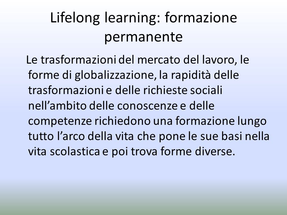 Lifelong learning: formazione permanente