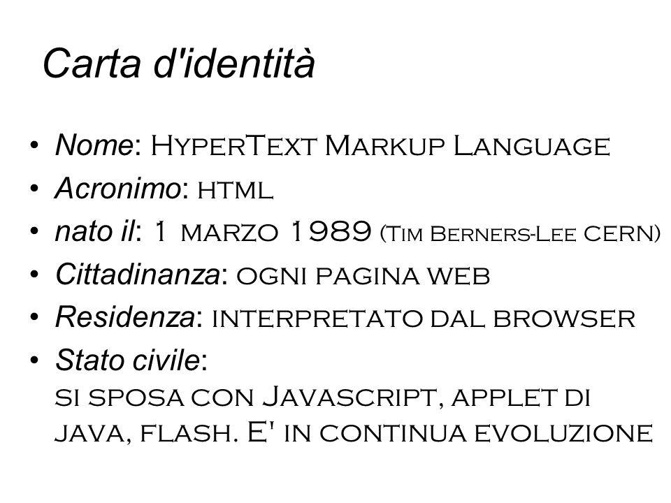 Carta d identità Nome: HyperText Markup Language Acronimo: html