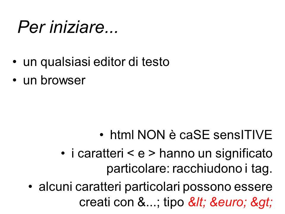 Per iniziare... un qualsiasi editor di testo un browser