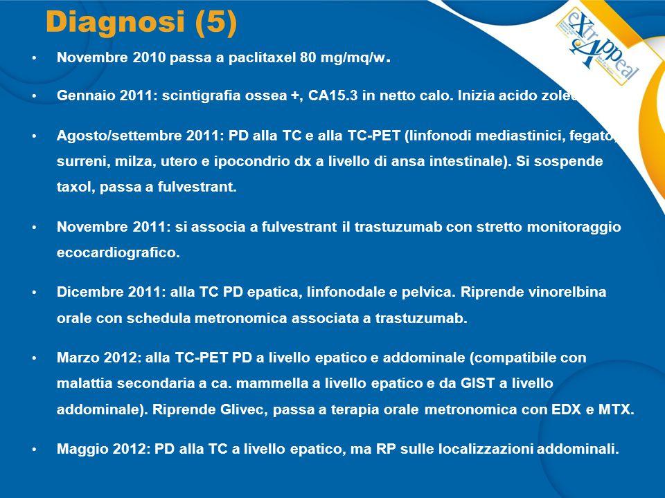 Diagnosi (5) Novembre 2010 passa a paclitaxel 80 mg/mq/w.