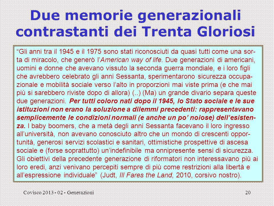 Due memorie generazionali contrastanti dei Trenta Gloriosi