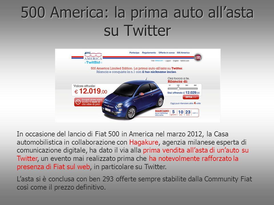 500 America: la prima auto all'asta su Twitter
