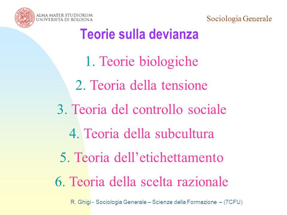 Teoria del controllo sociale Teoria della subcultura