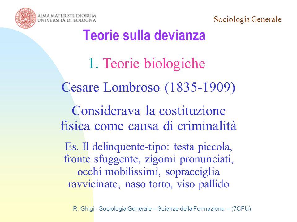Teorie sulla devianza Teorie biologiche Cesare Lombroso (1835-1909)