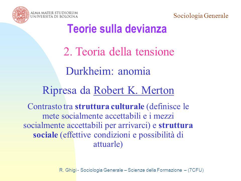 Teorie sulla devianza 2. Teoria della tensione Durkheim: anomia