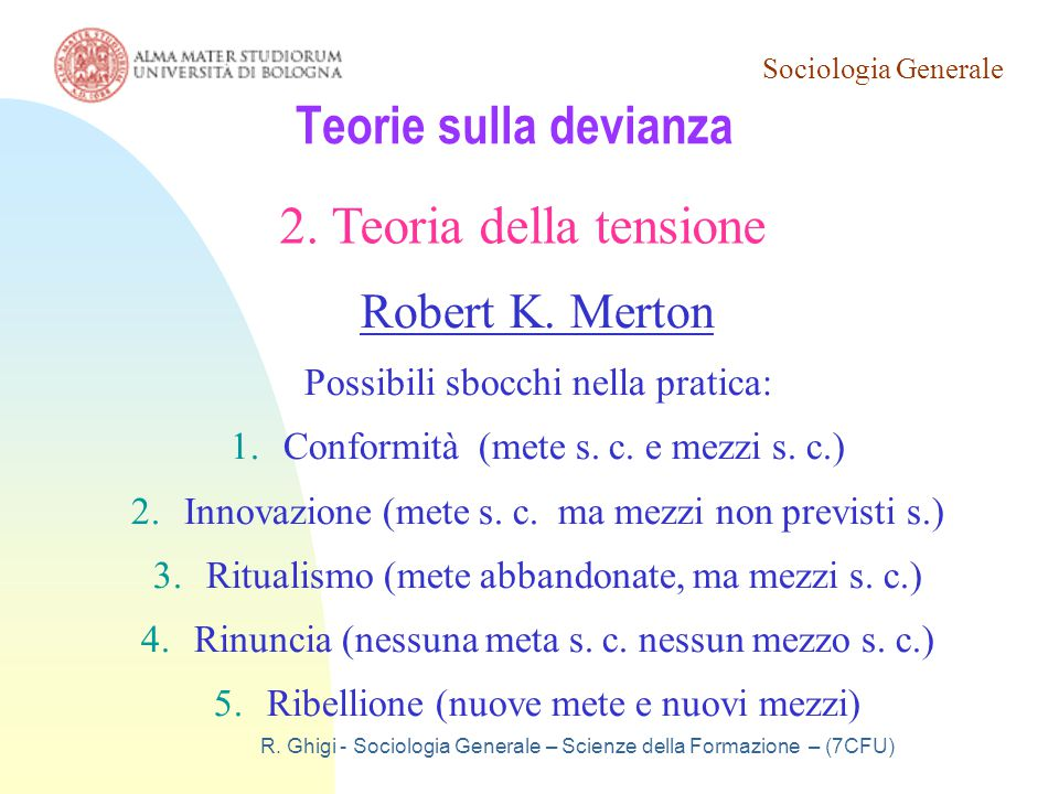Teorie sulla devianza 2. Teoria della tensione Robert K. Merton