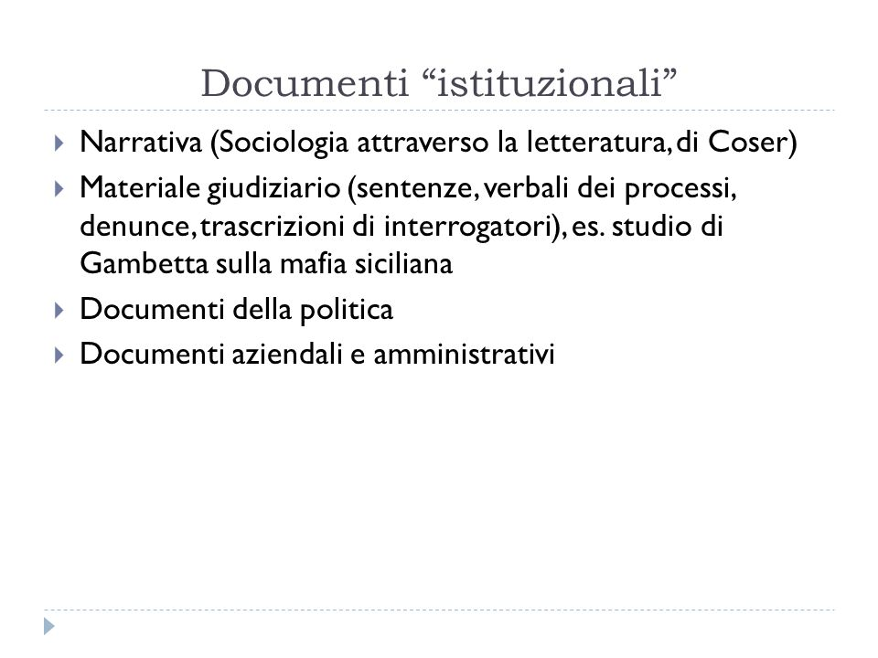 Documenti istituzionali