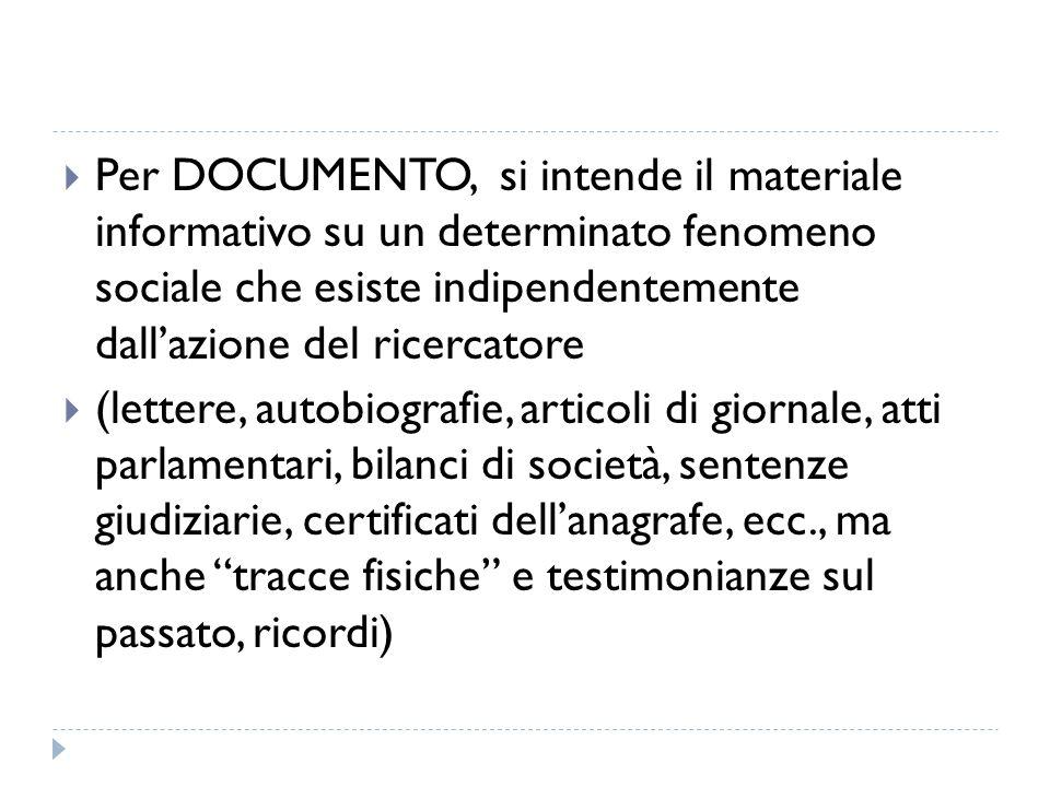 Per DOCUMENTO, si intende il materiale informativo su un determinato fenomeno sociale che esiste indipendentemente dall'azione del ricercatore