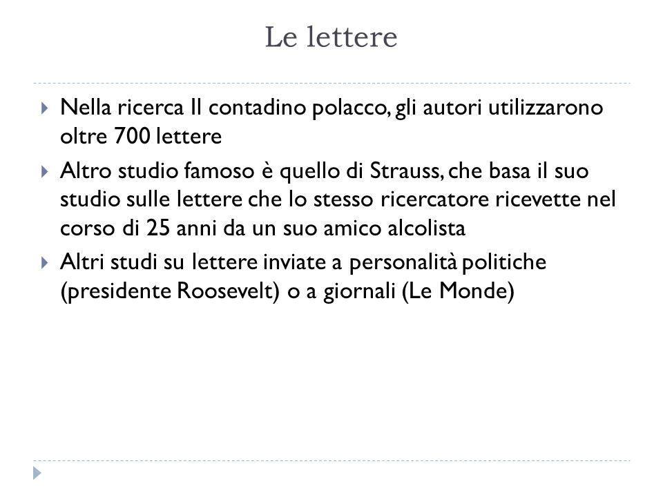 Le lettere Nella ricerca Il contadino polacco, gli autori utilizzarono oltre 700 lettere.