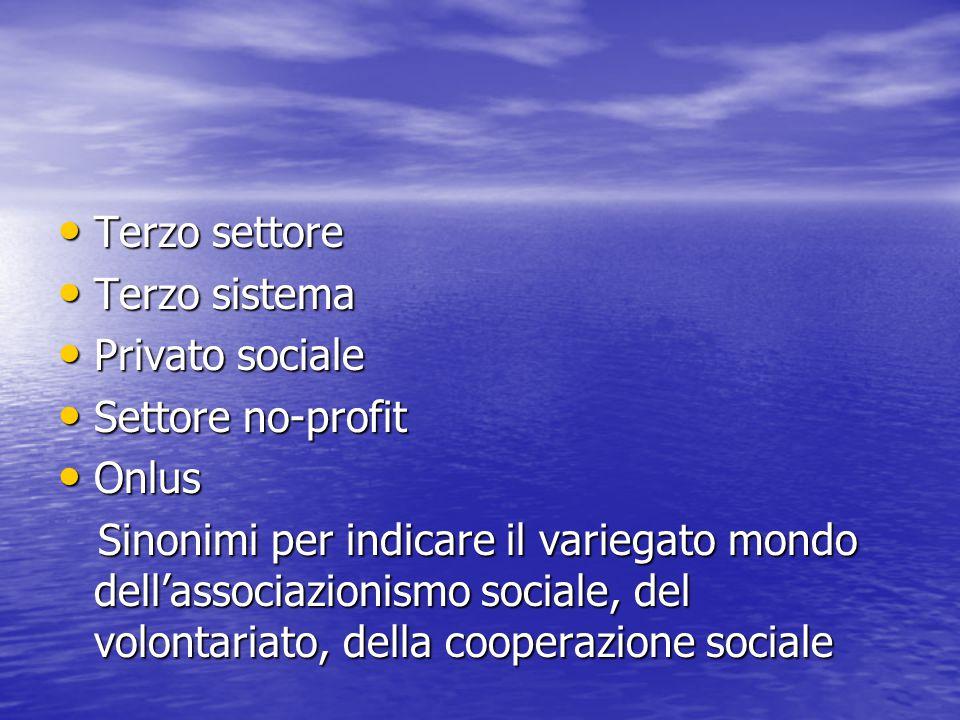 Terzo settore Terzo sistema. Privato sociale. Settore no-profit. Onlus.