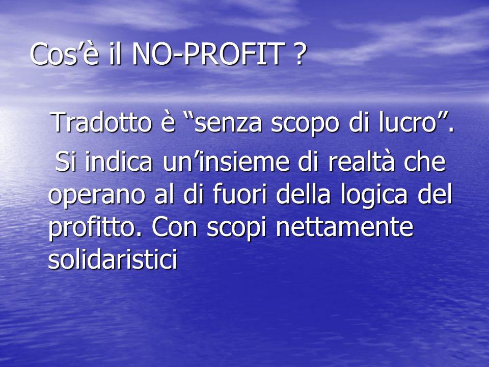 Cos'è il NO-PROFIT Tradotto è senza scopo di lucro .