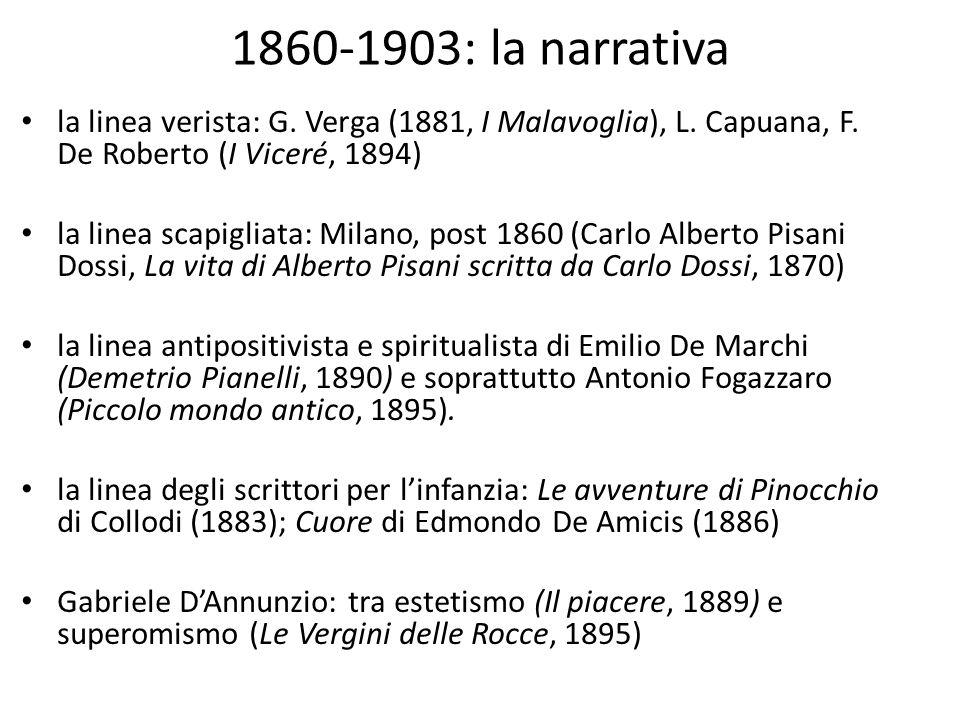 1860-1903: la narrativa la linea verista: G. Verga (1881, I Malavoglia), L. Capuana, F. De Roberto (I Viceré, 1894)
