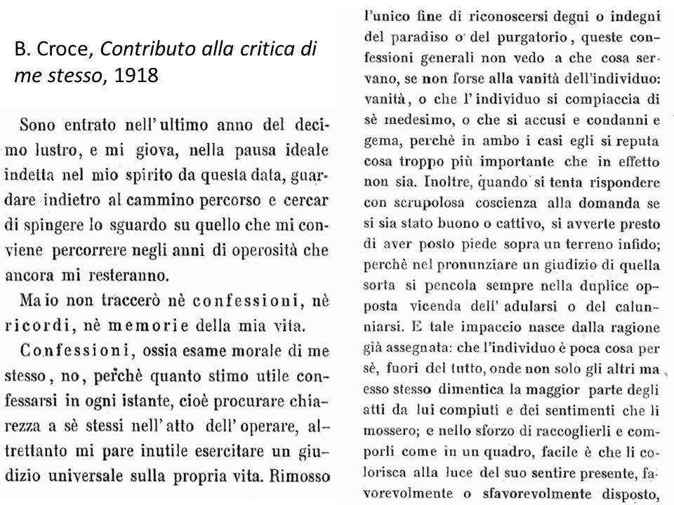 B. Croce, Contributo alla critica di me stesso, 1918