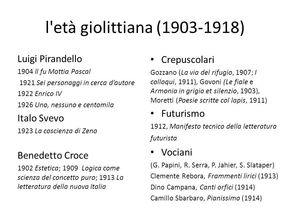 l età giolittiana (1903-1918) Luigi Pirandello Crepuscolari Futurismo