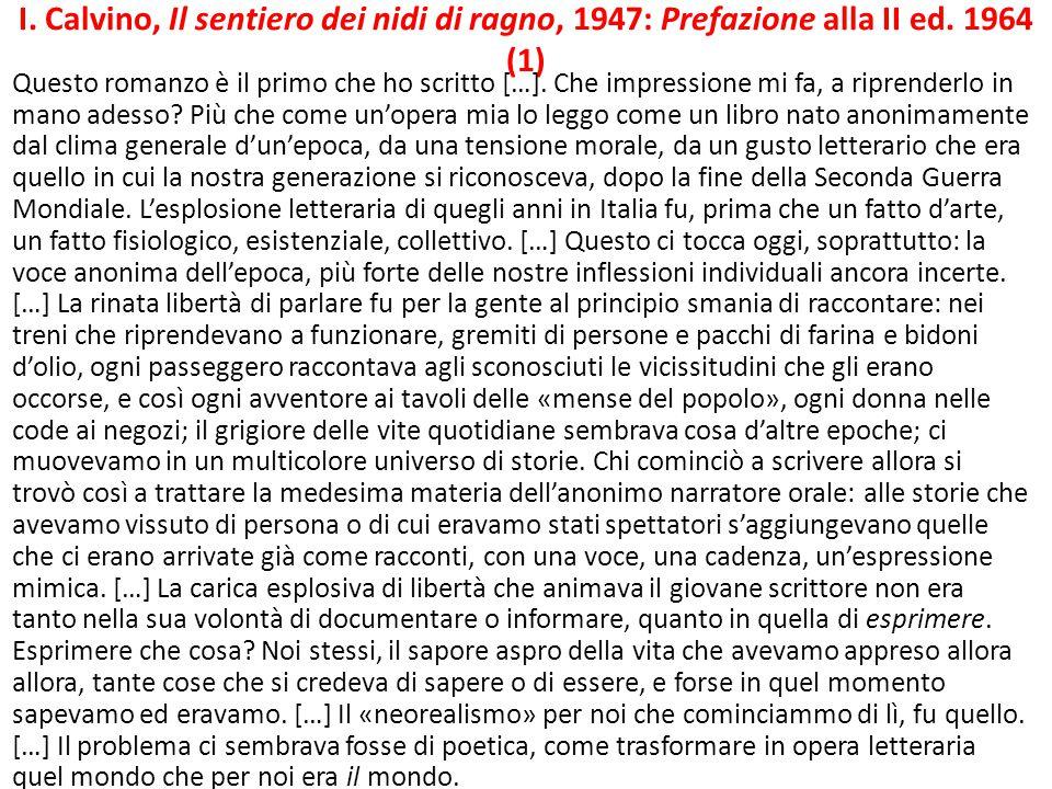 I. Calvino, Il sentiero dei nidi di ragno, 1947: Prefazione alla II ed