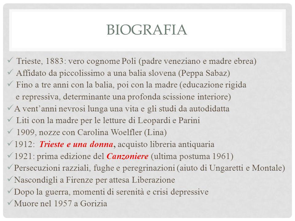 biografia Trieste, 1883: vero cognome Poli (padre veneziano e madre ebrea) Affidato da piccolissimo a una balia slovena (Peppa Sabaz)