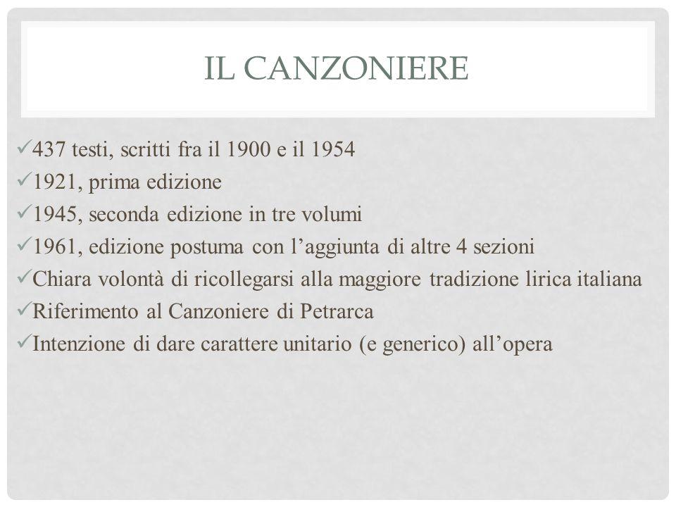 Il Canzoniere 437 testi, scritti fra il 1900 e il 1954
