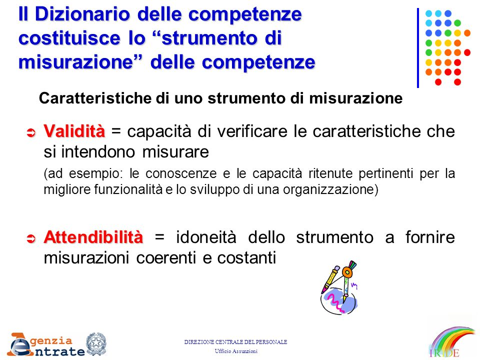 Il Dizionario delle competenze costituisce lo strumento di misurazione delle competenze