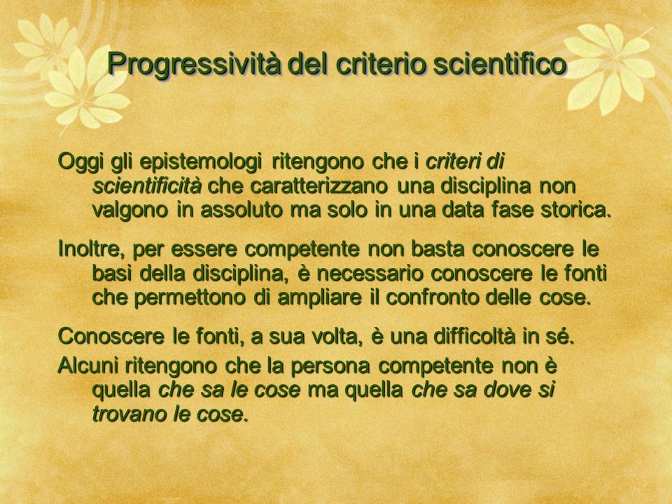 Progressività del criterio scientifico