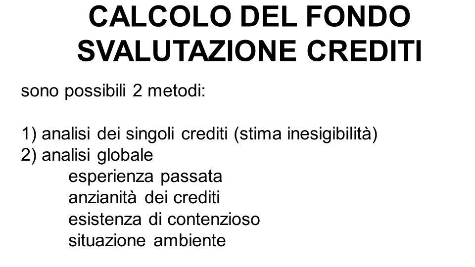 CALCOLO DEL FONDO SVALUTAZIONE CREDITI