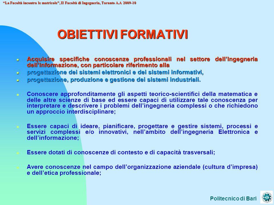 13/04/2017 La Facoltà incontra le matricole , II Facoltà di Ingegneria, Taranto A.A 2009-10. OBIETTIVI FORMATIVI.
