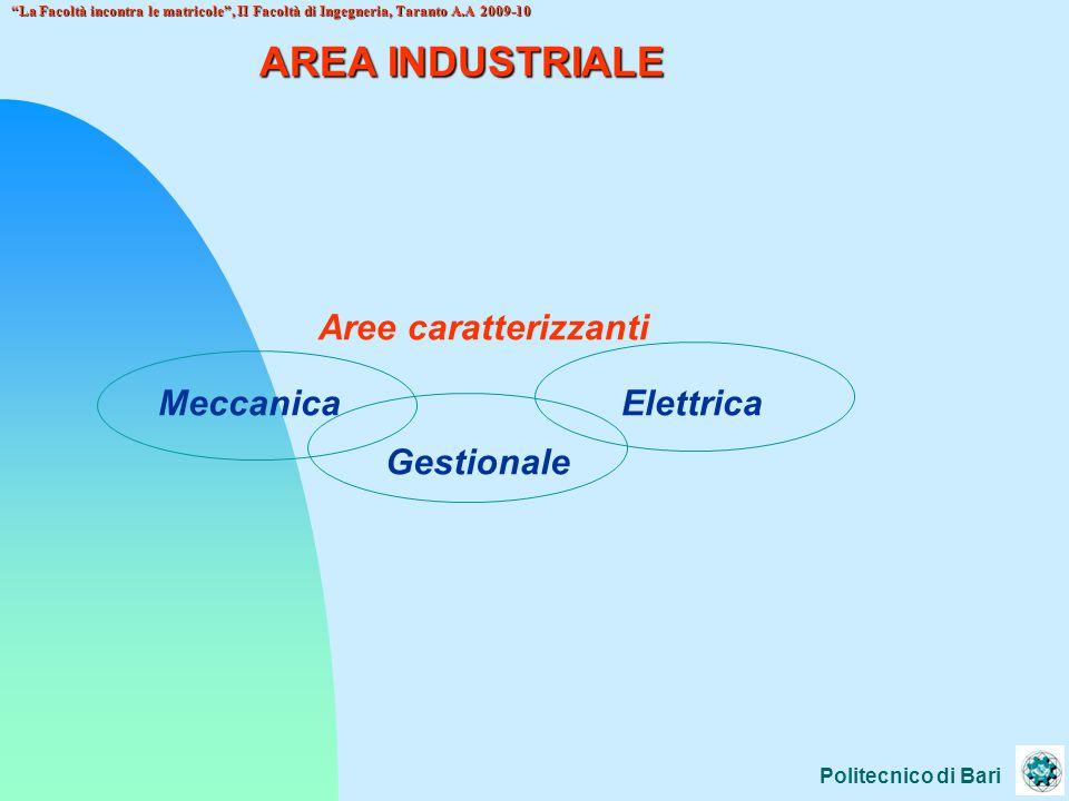 AREA INDUSTRIALE Aree caratterizzanti Meccanica Elettrica Gestionale