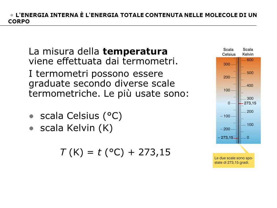 La misura della temperatura viene effettuata dai termometri.