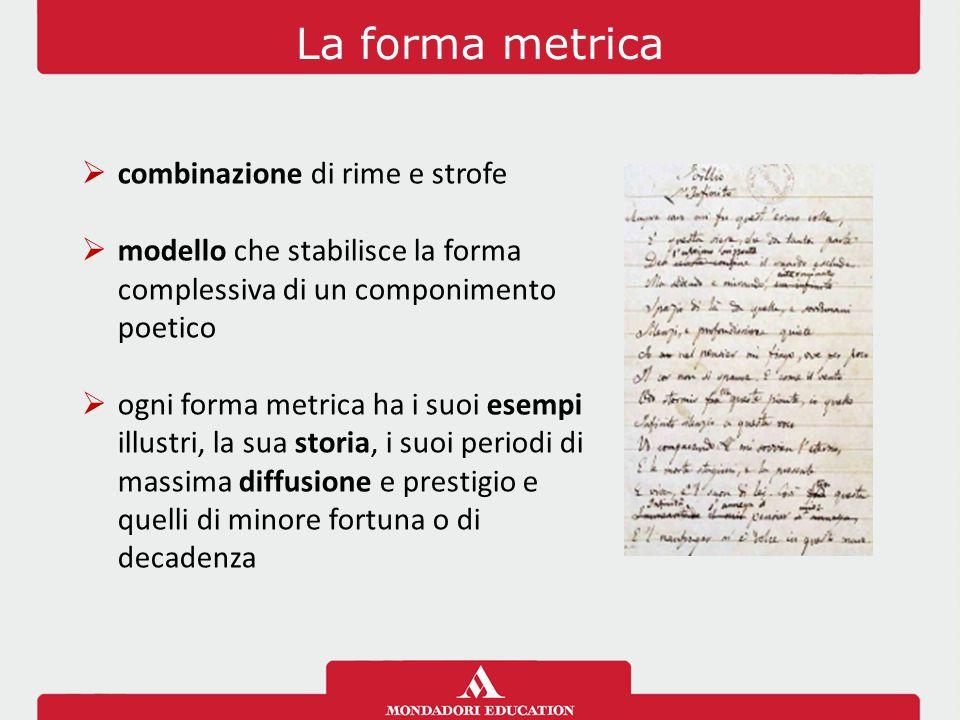 La forma metrica combinazione di rime e strofe