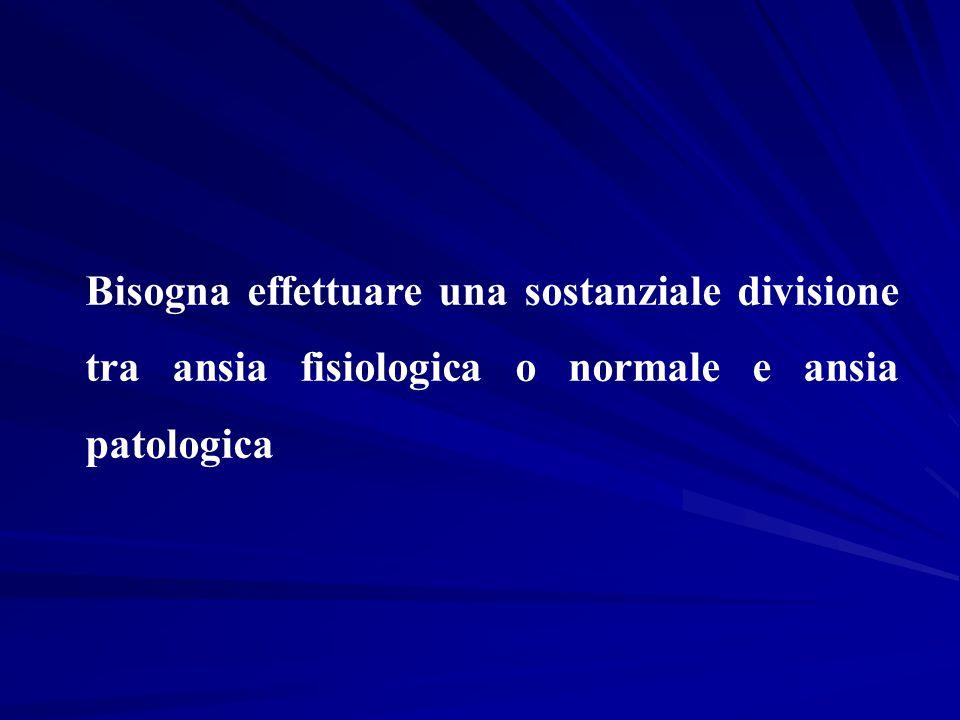 Bisogna effettuare una sostanziale divisione tra ansia fisiologica o normale e ansia patologica