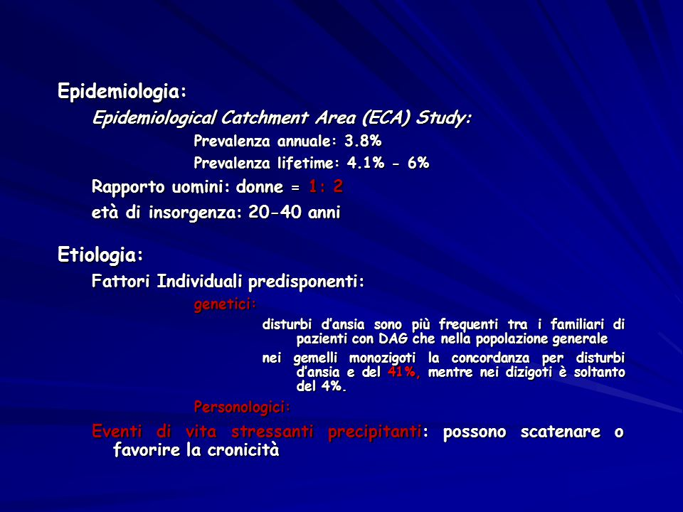 Epidemiologia: Etiologia: Epidemiological Catchment Area (ECA) Study: