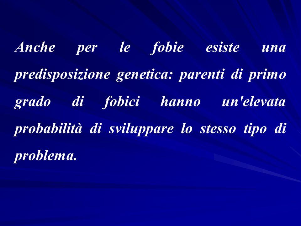 Anche per le fobie esiste una predisposizione genetica: parenti di primo grado di fobici hanno un elevata probabilità di sviluppare lo stesso tipo di problema.