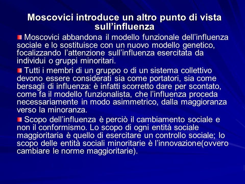 Moscovici introduce un altro punto di vista sull'influenza