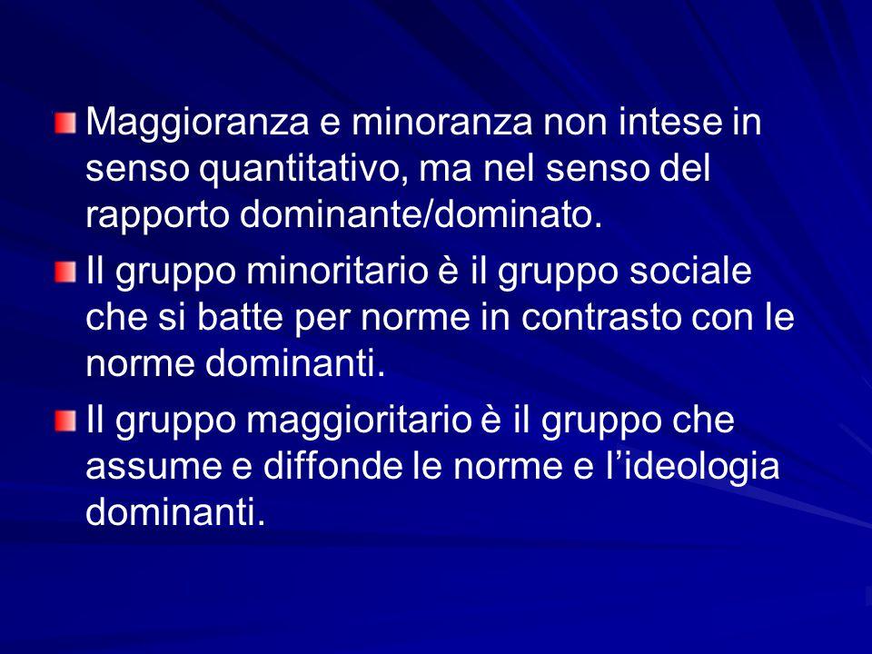 Maggioranza e minoranza non intese in senso quantitativo, ma nel senso del rapporto dominante/dominato.