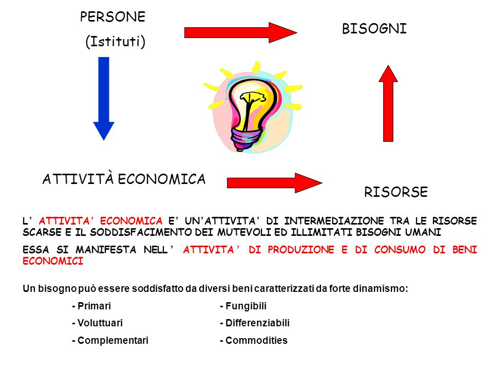 PERSONE (Istituti) BISOGNI ATTIVITÀ ECONOMICA RISORSE