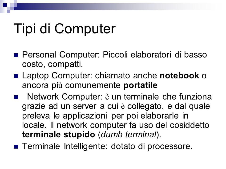 Tipi di Computer Personal Computer: Piccoli elaboratori di basso costo, compatti.