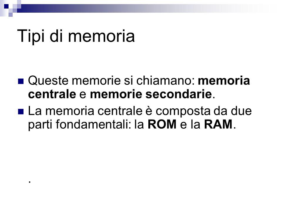 Tipi di memoria Queste memorie si chiamano: memoria centrale e memorie secondarie.