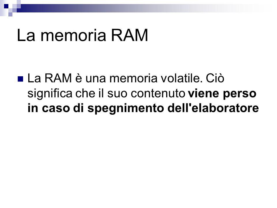 La memoria RAM La RAM è una memoria volatile.