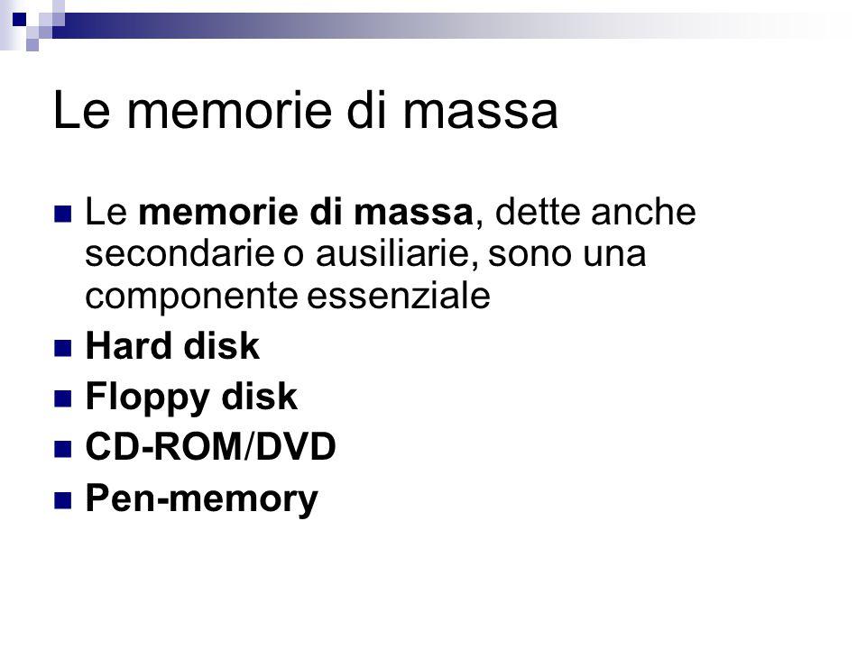 Le memorie di massa Le memorie di massa, dette anche secondarie o ausiliarie, sono una componente essenziale.