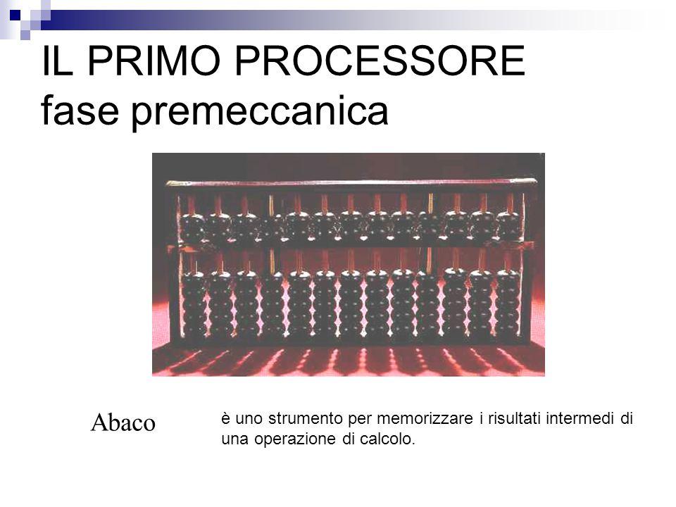 IL PRIMO PROCESSORE fase premeccanica