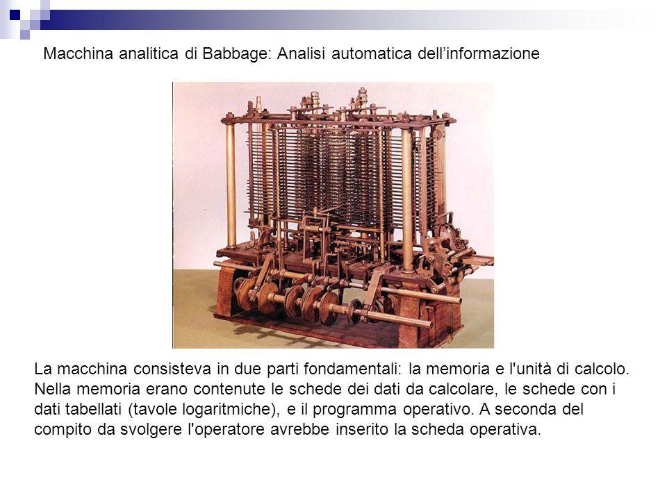 Macchina analitica di Babbage: Analisi automatica dell'informazione