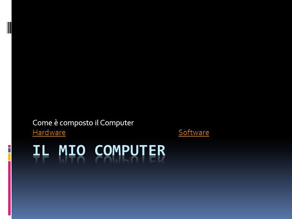 Come è composto il Computer Hardware Software