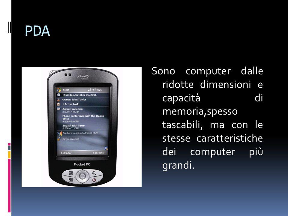 PDA Sono computer dalle ridotte dimensioni e capacità di memoria,spesso tascabili, ma con le stesse caratteristiche dei computer più grandi.