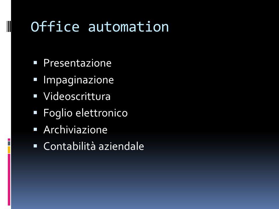 Office automation Presentazione Impaginazione Videoscrittura