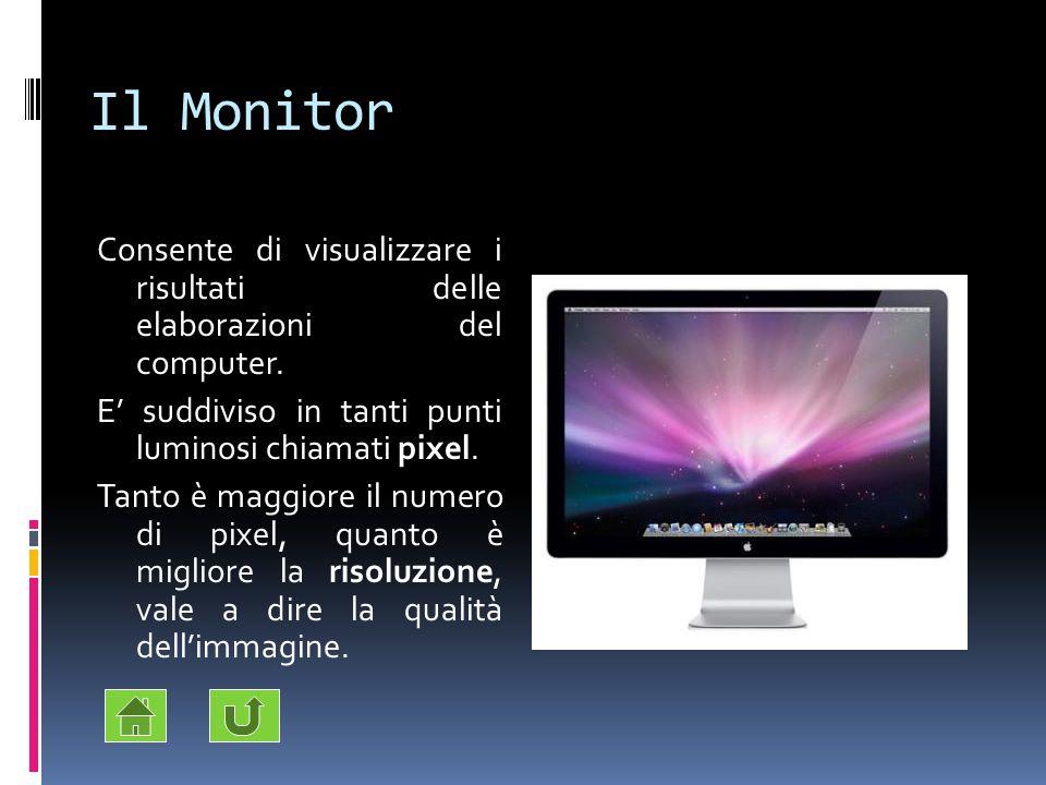 Il Monitor Consente di visualizzare i risultati delle elaborazioni del computer. E' suddiviso in tanti punti luminosi chiamati pixel.