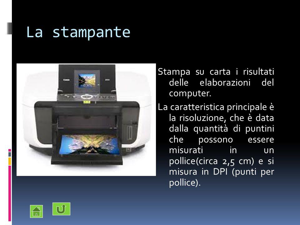 La stampante Stampa su carta i risultati delle elaborazioni del computer.