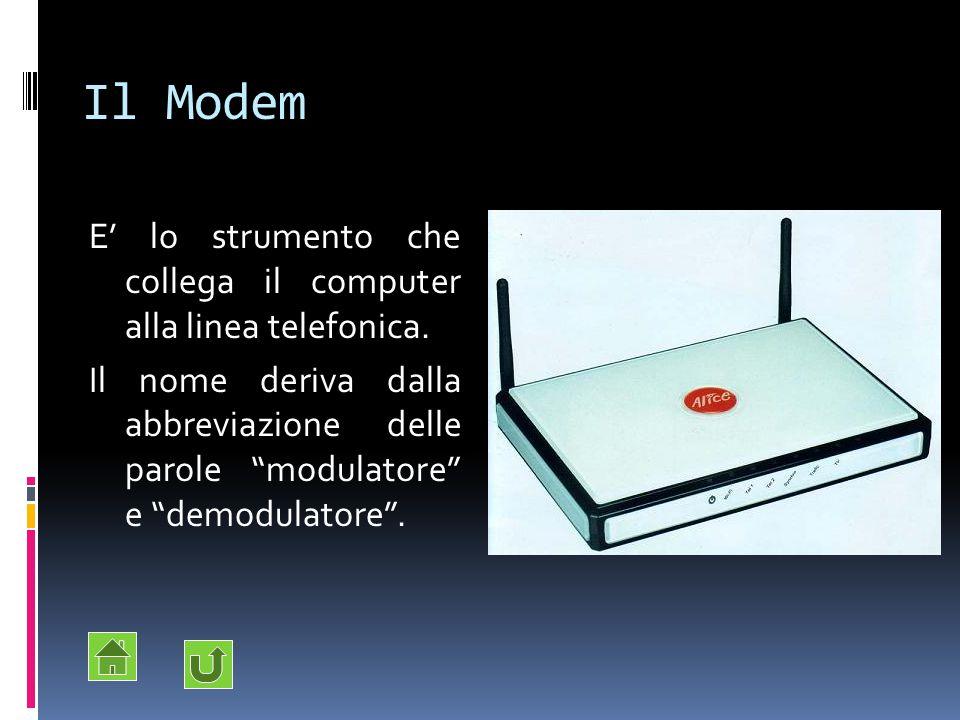 Il Modem E' lo strumento che collega il computer alla linea telefonica.