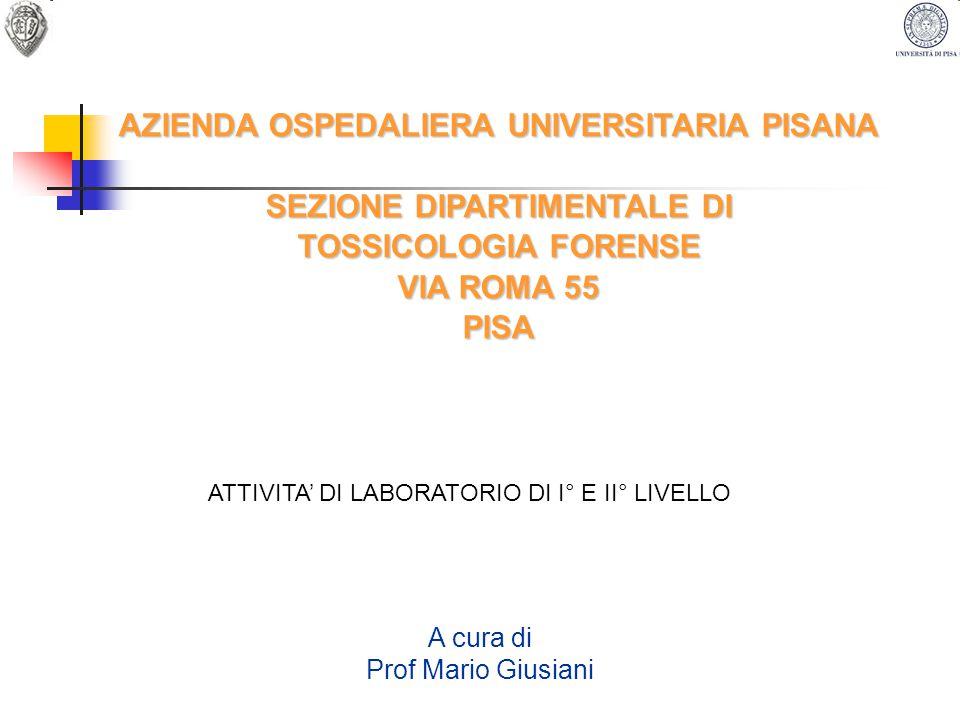 AZIENDA OSPEDALIERA UNIVERSITARIA PISANA SEZIONE DIPARTIMENTALE DI