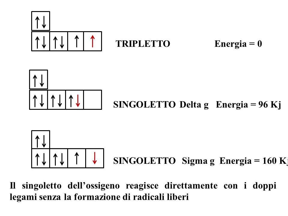 TRIPLETTO Energia = 0 SINGOLETTO Delta g Energia = 96 Kj. SINGOLETTO Sigma g Energia = 160 Kj.